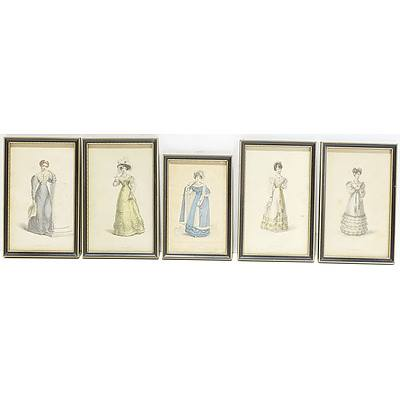 Five Antiquarian Engravings of Various Dresses Including Evening Dress, Dinner Dress, Morning Dress, and More