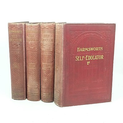 Seven Volumes of Harmsworth Self Educator and Ten Bound Volumes Masterpiece Library of Short Stories