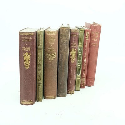 Eight Antique and Vintage Books Including Charles Dickens, Pickwick Papers and David Copperfield