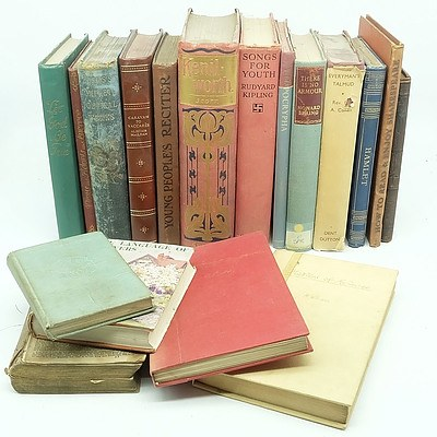 Group of Antique and Vintage Books Novels and Poetry Books Including Dickens, Sir Walter Scott, Samuel Rodgers, H.G. Wells