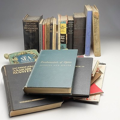 Group of Vintage Novels, Geography, Mathematics and Scientific Books