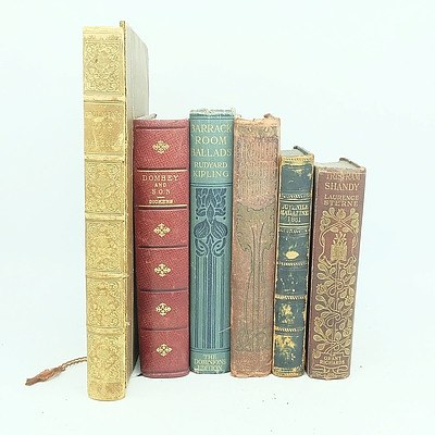 Six Antiquarian Books Including, Dickens Domby and Son, The Juvenile Magazine 1861, Toulmin's Lays and Legends