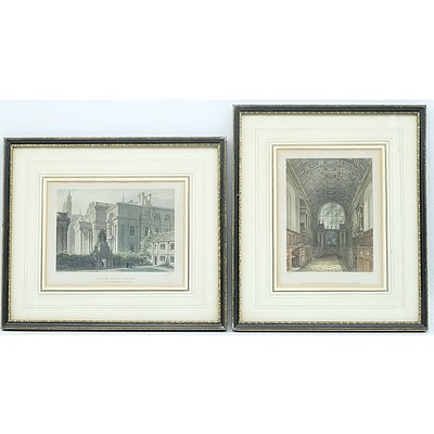 Three Antiquarian Engravings Including Caius College and the New Public Library