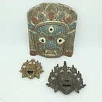 Tibetan Buddhist Stone and Metal Inlaid Mask and Two Incense Burners
