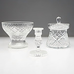 Three Pieces of Cut Crystal, Including Vase, Candlestick and More