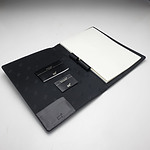 Mont Blanc Black Leather Lined Notebook with Soft Case