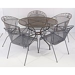 Two Steel Outdoor Tables And Five Chairs