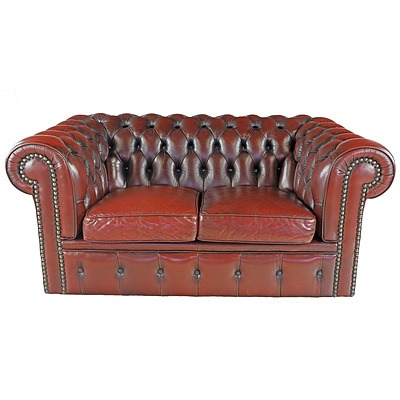 Moran Burgundy Buttoned Leather Chesterfield Lounge