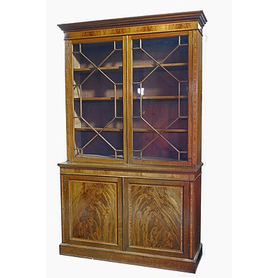 Impressive Sheraton Revival Inlaid Mahogany Bookcase with Astragal Glazing and Dentil Moulded Cornice Circa 1900
