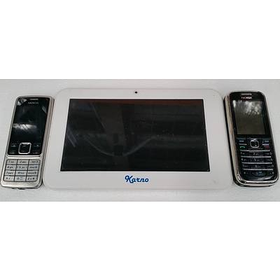 """Karno 7"""" Android Tablet and Two Nokia Mobile Phones"""