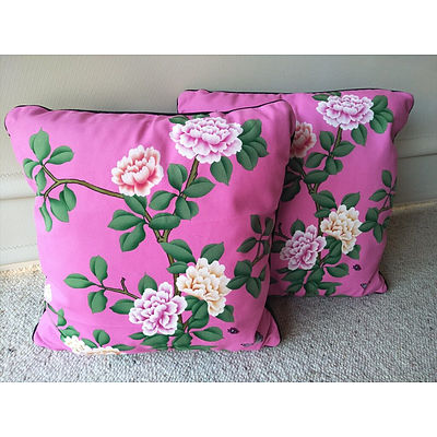 Pair of 'Butterfly Garden' Plush Cushions