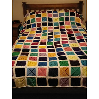 Hand Crotcheted Multi-Coloured Squares Double Bed Blanket