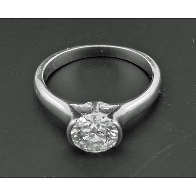 Tolkowsky Round Brilliant-cut Diamond Ring 1.03cts. Hearts & Arrows.