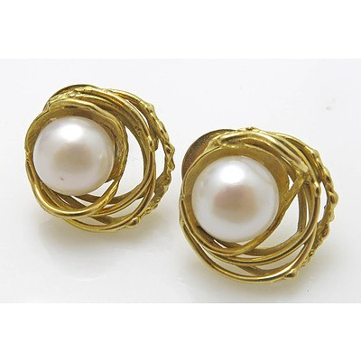 18ct Gold Pearl Earrings