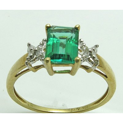 10ct Gold Synthetic Emerald & Diamond Ring