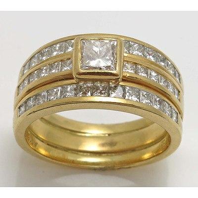 18ct Gold triple ring Set