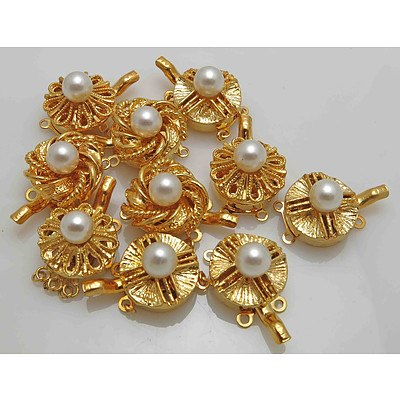 Gold-plated Pearls Clasps (x10)