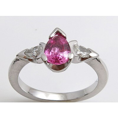 18ct White Gold Pink Sapphire Ring