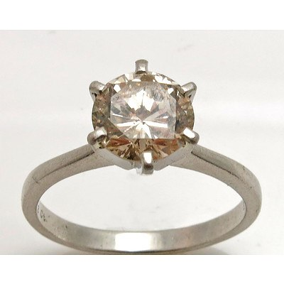2.13ct Round Brilliant-cut Diamond Ring. Platinum