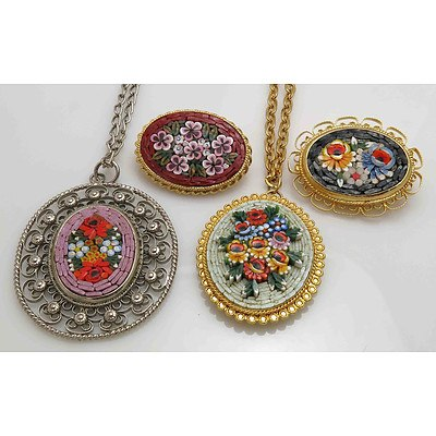 Collection of Floral micro-mosaic Jewellery (x4)