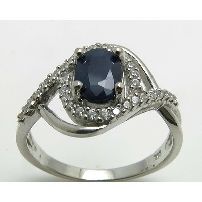 Sterling Silver Sapphire & CZ Ring