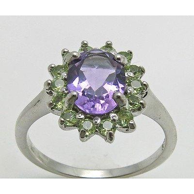 Sterling Silver Amethyst & Peridot Ring