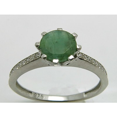Sterling Silver Emerald & CZ Ring