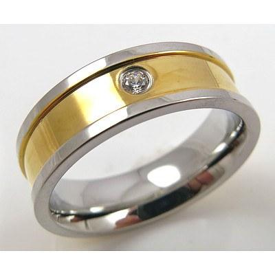 Titanium Ring with 18ct Gold Plating