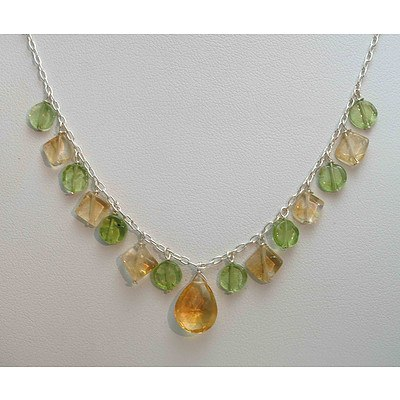 Sterling Silver Peridot & Citrine Fringe Necklace