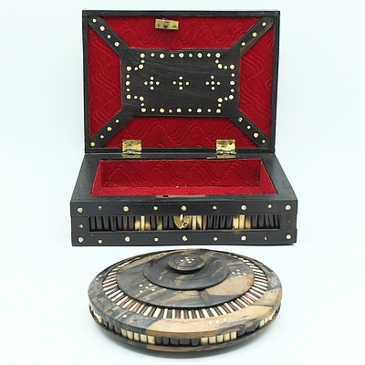 Two Sri Lankan Ebony and Porcupine Quill Embellished Boxes, Probably Galle District, 20th Century