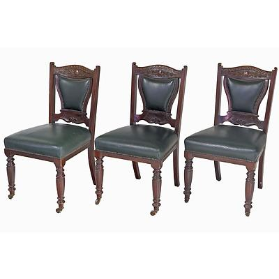 Six Edwardian Walnut Dining Chairs with Dark Green Leather Upholstery, Early 20th Century