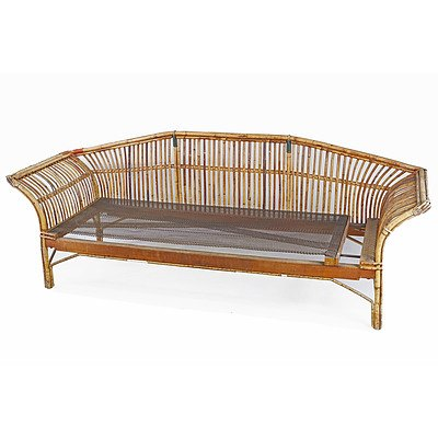 Fabulous Vintage Cane Lounge or Daybed, Mid 20th Century