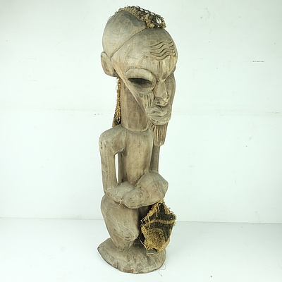 African Tribal Figure With Attached Congolese Kuba Cloth Fragment