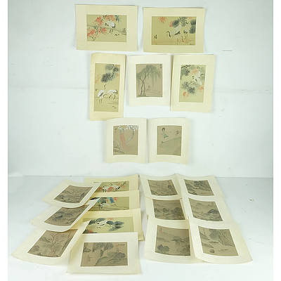 Large Folio of Chinese Watercolours On Silk