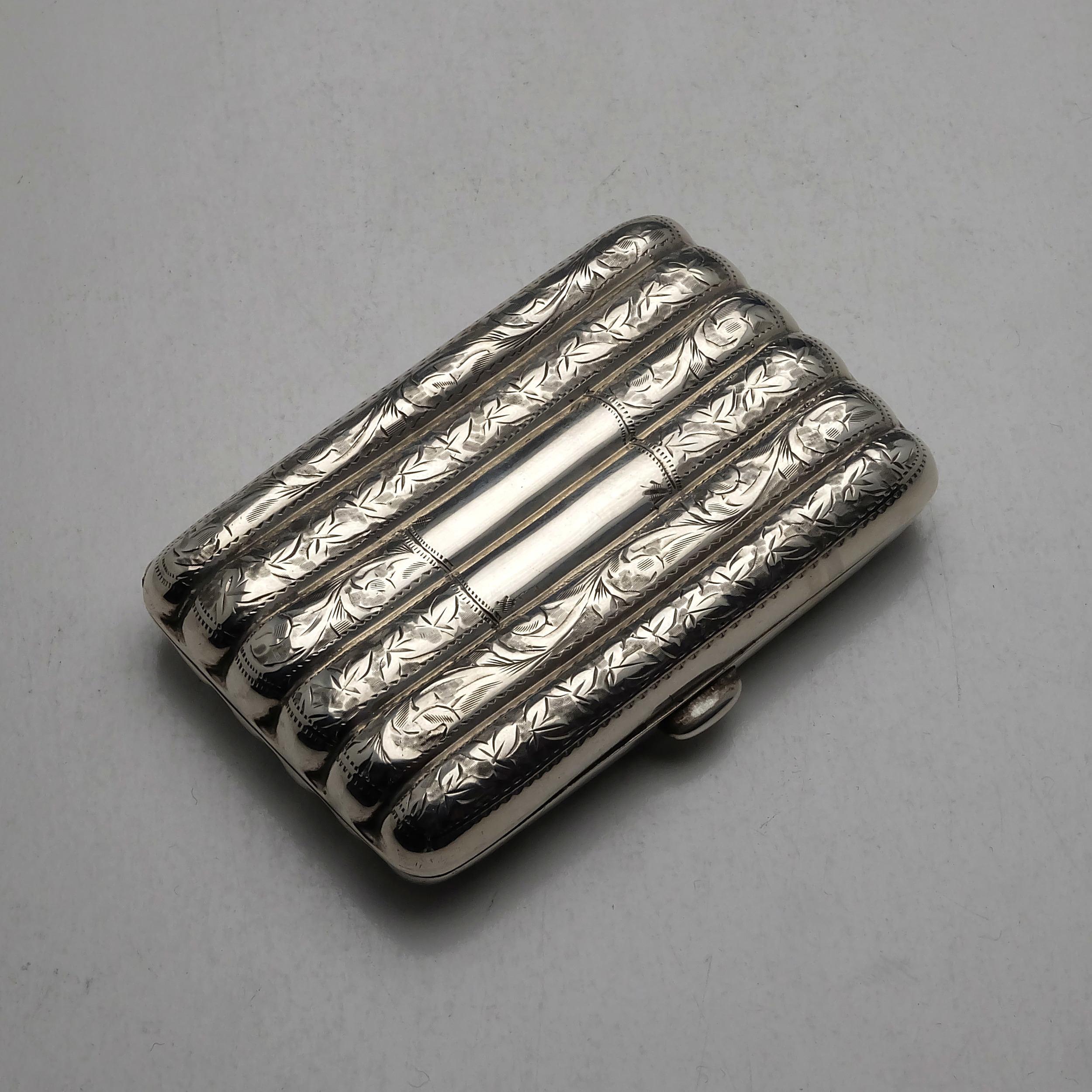 'Engraved Sterling Silver Cigarette Case Birmingham 1905 67g'