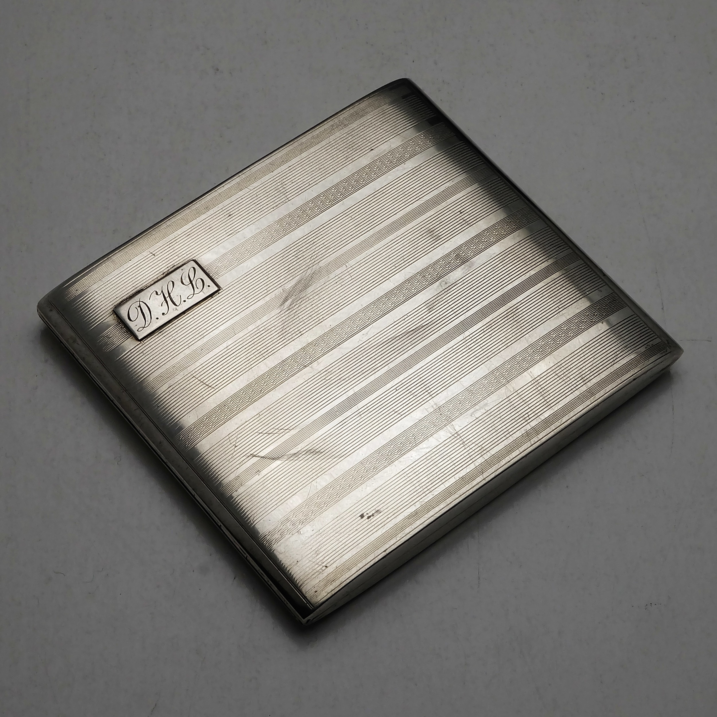 'Engine Turned and Monogrammed Sterling Silver Cigarette Case Birmingham Adie Brothers 1922 142g'