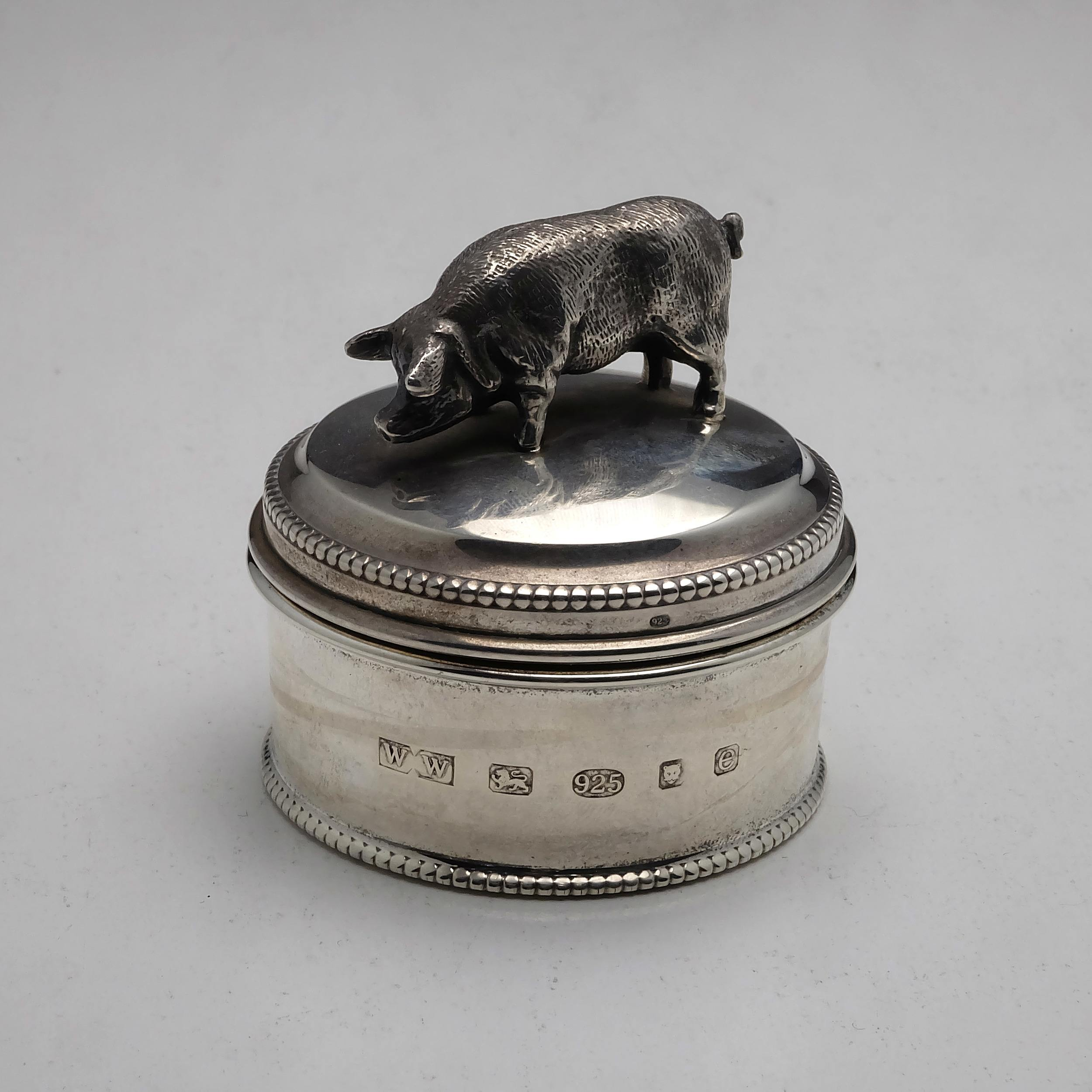 'Sterling Silver Container with Pig London Whitehill Silver & Plate Co 2004 129g'