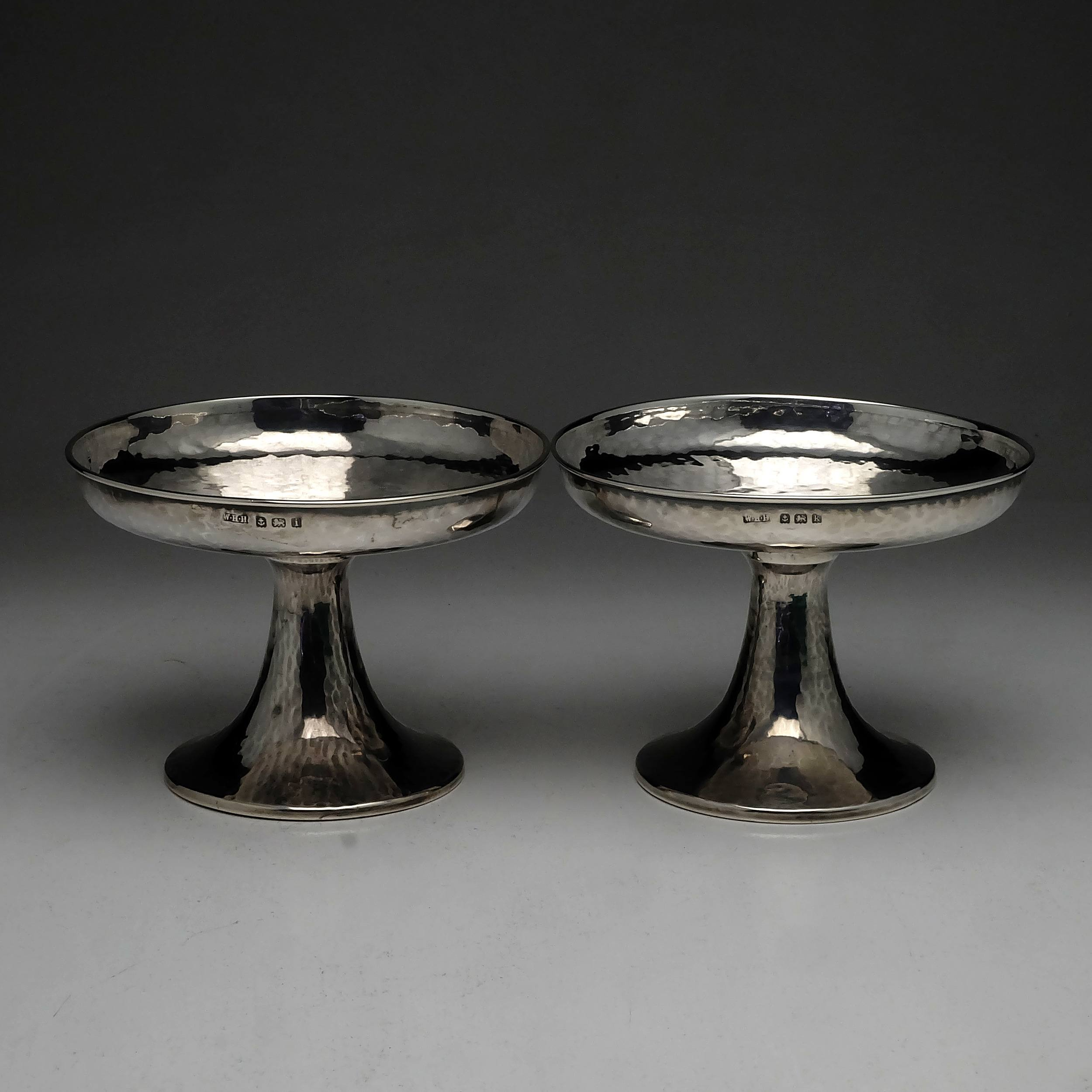 'Pair Arts and Crafts Sterling Silver Planished Compotes Birmingham William Hair Haseler 1908 1909 165g'