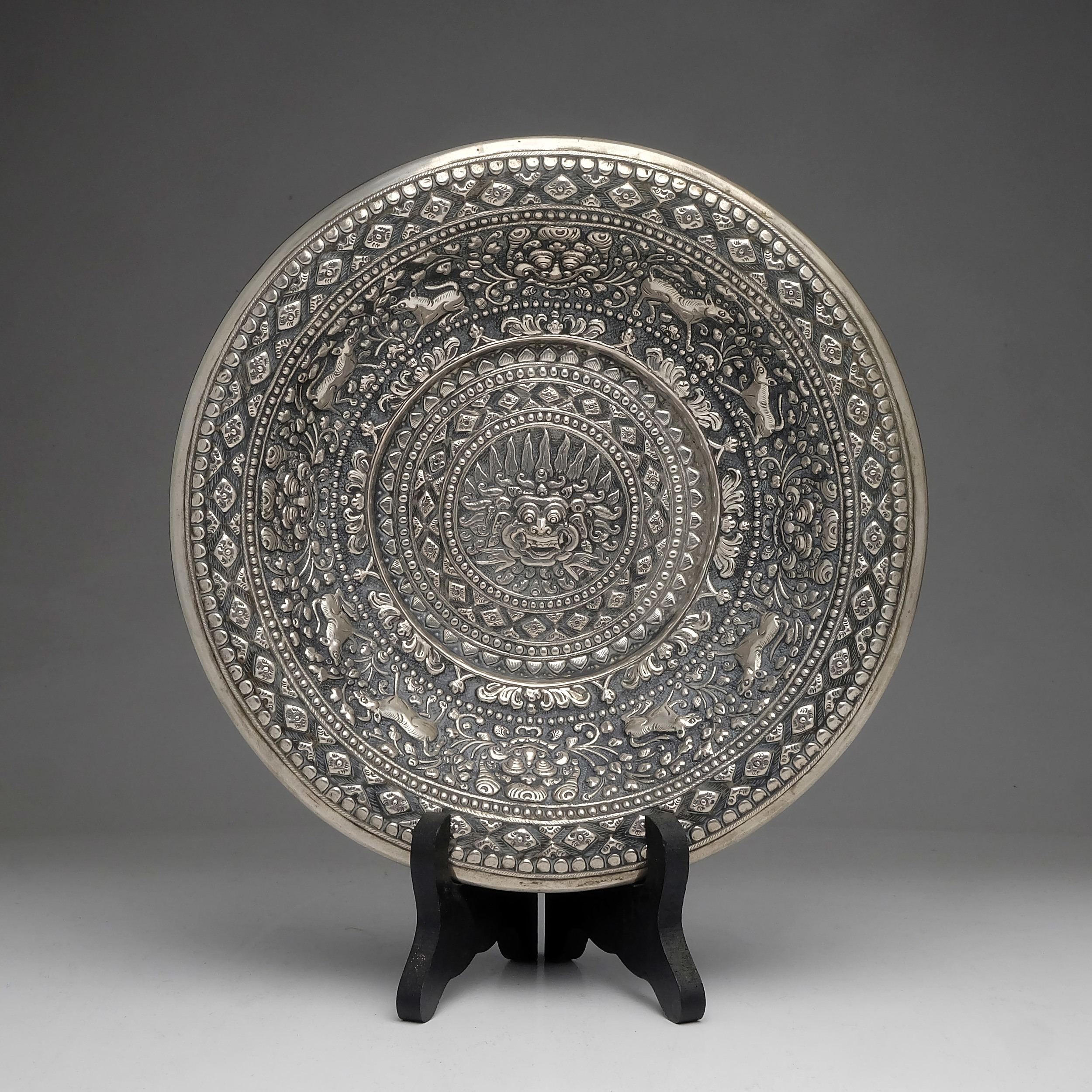 'Burmese Repousse Silver Bowl With Centralized Image of Barong and Hindu Imagery'