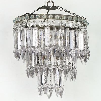 Three Vintage Prism Drop Chandeliers