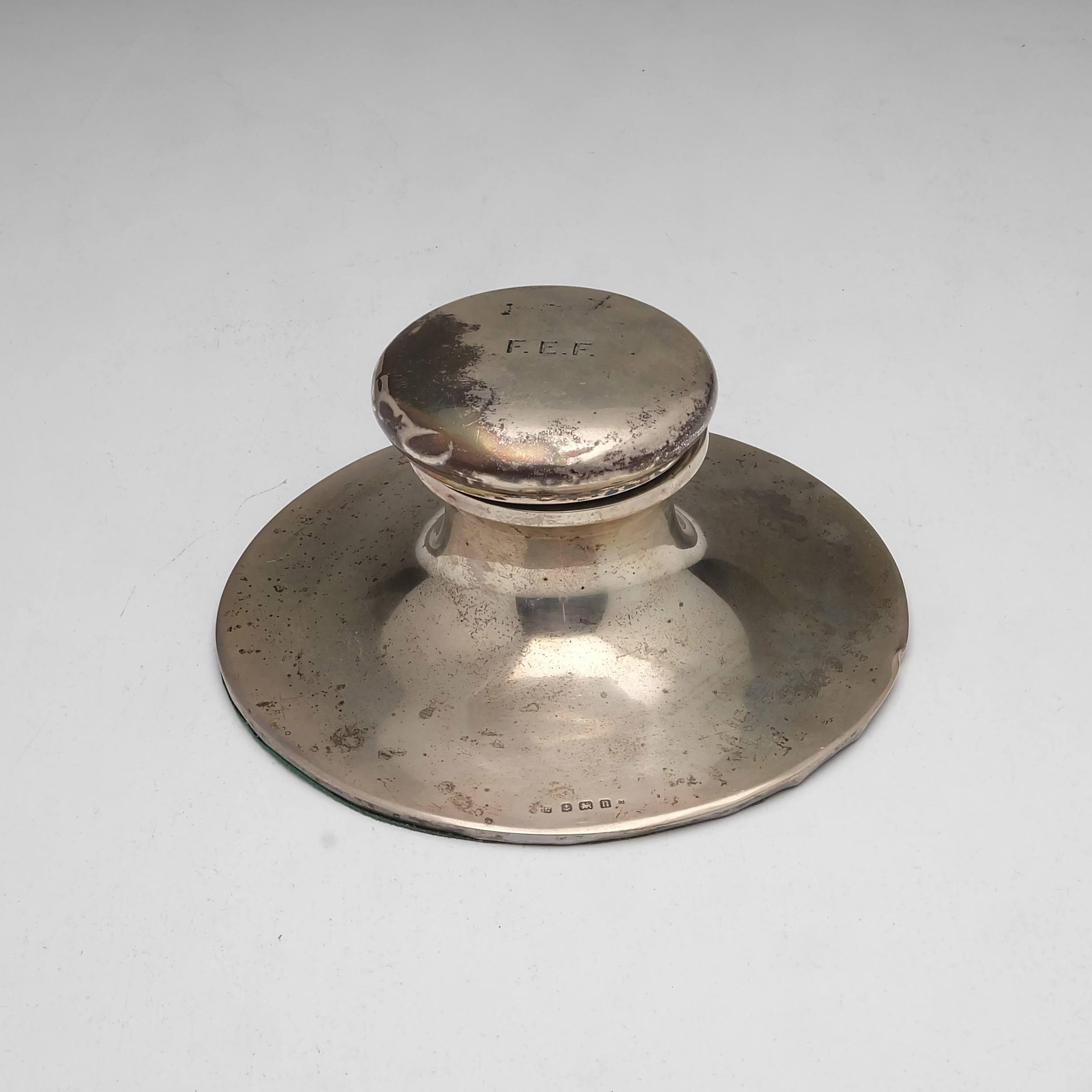 'Monogrammed Sterling Silver Inkwell Birmingham George Unite 1912'