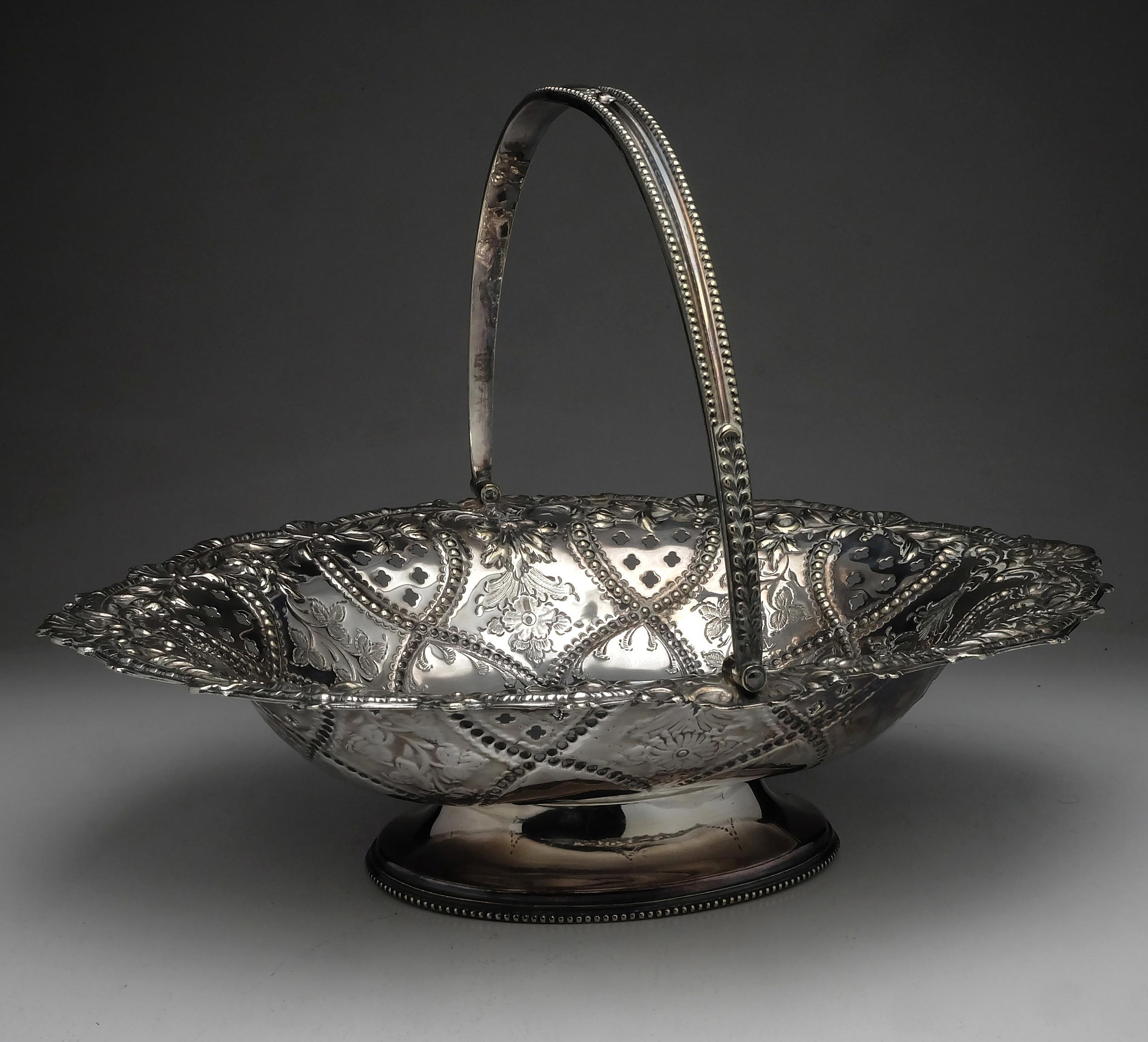 'Large Pierced and Repousse Silver Plate Fruit Basket'