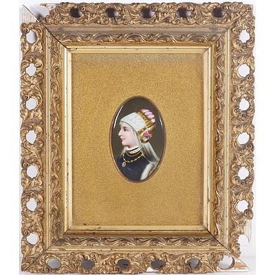 19th Century European Hand Painted Porcelain Miniature Portrait