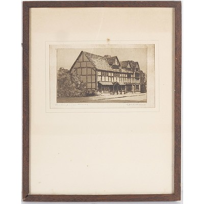 Shakespeare's House, Etching Signed C Dickens
