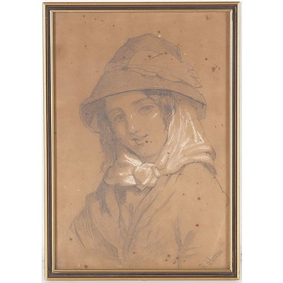 Jane Barrow (Dates Unknown) Portrait of Lady 1882, Pencil Heightened with Gouache