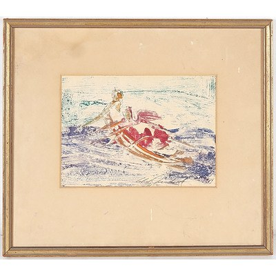 Unknown, Rowing Boat in Waves, Oil on Artists Board, Signed Indistinctly Lower Right in Pencil