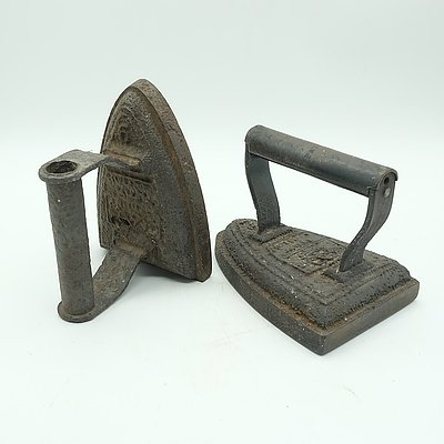 Two Antique Silvester Patent Cast Iron Irons