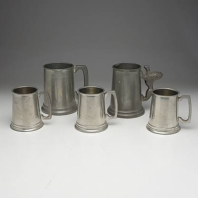 Group of Antique and Vintage English Pewter Tankards Including Huntly and Knighthood