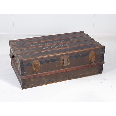 World War Two Military Metal Bound Trunk