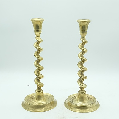 Pair of Vintage Tall Twisted Brass Candlesticks